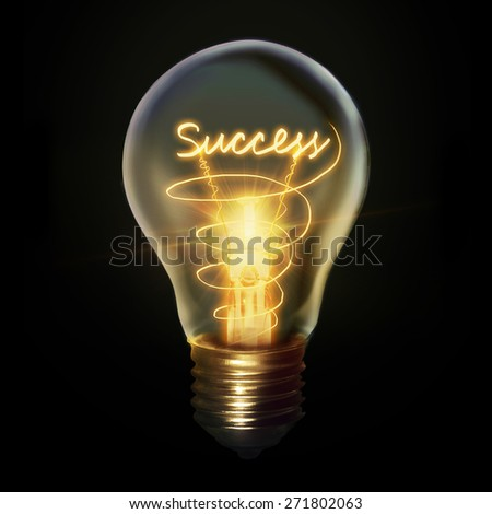 Success concept creative Light bulb idea symbol isolated on black background