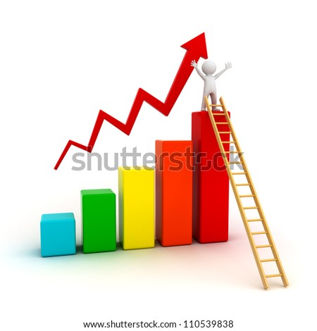 Success concept, 3d man on top of business growth graph with wood ladder over white background - stock photo