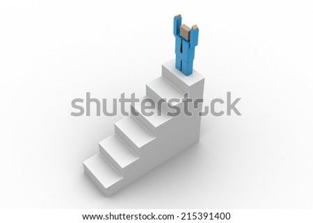 Success concept, 3d man standing on top   - stock photo