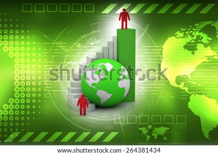 Success concept, 3d man standing with arms wide open on top of growth business bar graph - stock photo