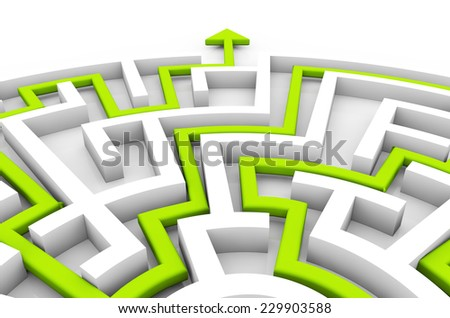success concept: green arrow path showing a maze exit - stock photo