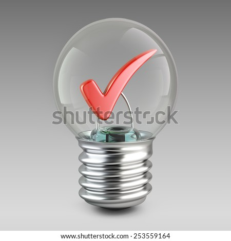 Success concept. Light bulb and red check mark. 3d illustration for your design. - stock photo