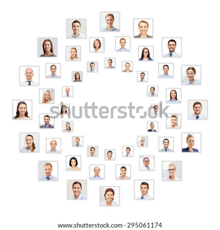 success concept - many business people portraits in circle - stock photo