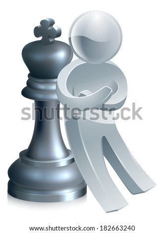 Success concept of a silver mascot leaning on a King chess piece - stock photo