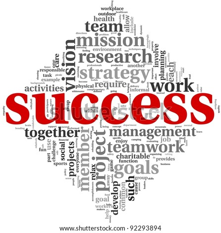 Success concept related words in tag cloud isolated on white background - stock photo