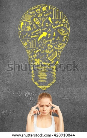 Success concept with pensive woman. close up - stock photo