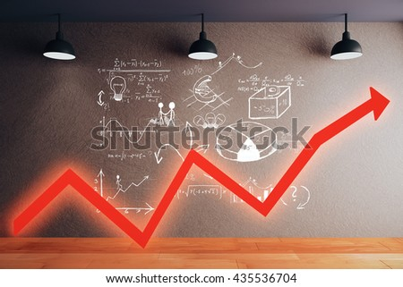 Success concept with red chart arrow and business sketch in room with wooden floor, concrete wall and ceiling lamps. 3D Rendering - stock photo
