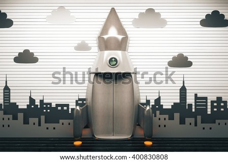 Success concept with rocket elevator on wallpaper with clouds and buildings. 3D Rendering - stock photo