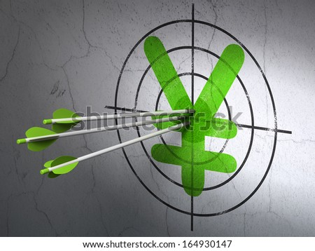 Success currency concept: arrows hitting the center of Green Yen target on wall background, 3d render