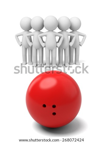 success/3d people play bowling. 3d image. Isolated white background - stock photo