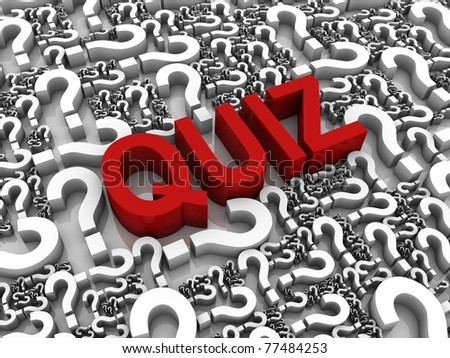 Success 3D text surrounded by question marks. Part of a series. - stock photo