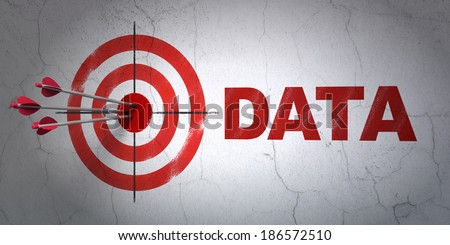 Success Data concept: arrows hitting the center of target, Red Data on wall background, 3d render - stock photo