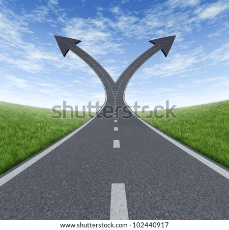 Success decision as a cross roads and upward growth streets in the shape of arrows showing a fork in the path representing the concept of direction when facing two equal or similar options.