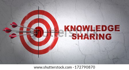 Success Education concept: arrows hitting the center of target, Red Knowledge Sharing on wall background, 3d render - stock photo