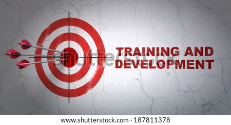 Success Education concept: arrows hitting the center of target, Red Training and Development on wall background, 3d render - stock photo