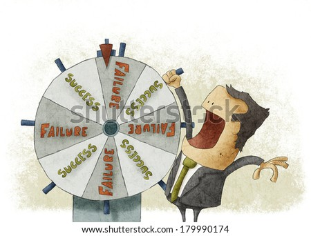 Success failure in wheel of fortune	 - stock photo