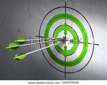 Success finance concept: arrows hitting the center of Green Target target on wall background