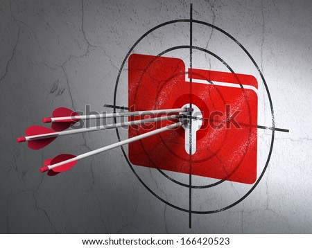 Success finance concept: arrows hitting the center of Red Folder With Keyhole target on wall background, 3d render