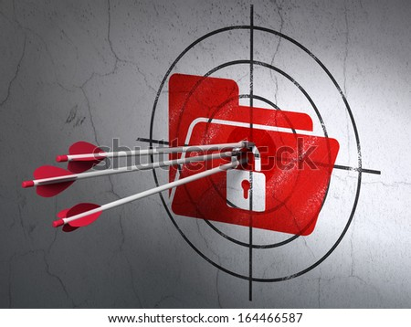Success finance concept: arrows hitting the center of Red Folder With Lock target on wall background, 3d render