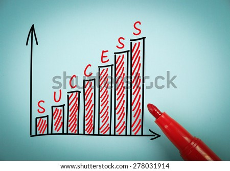 Success graph is on blue paper with a red marker aside. - stock photo