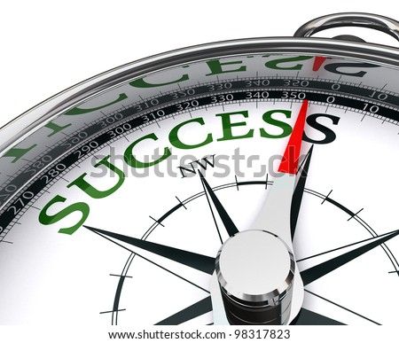 success green word indicated by compass conceptual image.clipping path included