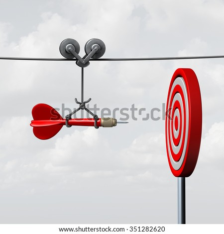 Success hitting target as a business assistance concept with the help of a guide as a symbol for goal achievement management and aim to hit the bull's eye as a dart assured to go straight to center. - stock photo