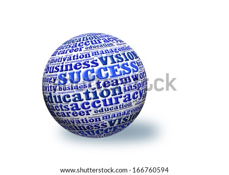 SUCCESS, in a word cloud designed in a 3D sphere with shadow - stock photo