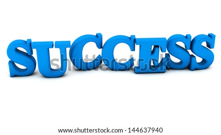 Success in blue on white background