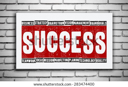 Success in business conceptual words on white board, business concept - stock photo