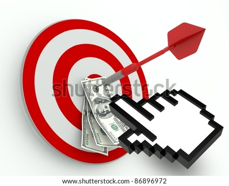 Success in Business, Dollar and Dart with hand icon