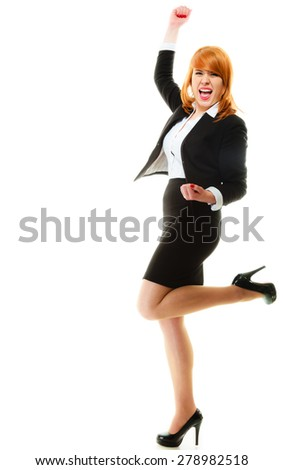 Success in business work. Young businesswoman in full length happy girl winner shouting for joy, celebrating promotion in her job isolated on white. - stock photo