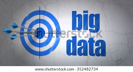 Success Information concept: arrows hitting the center of target, Blue Big Data on wall background