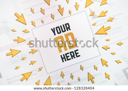 "Success internet banner advertisement with text ""YOUR AD HERE"" and lot of clicking pointers around banner. Conceptual image. - stock photo"