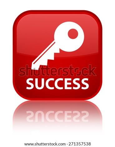 Success (key icon) red square button - stock photo