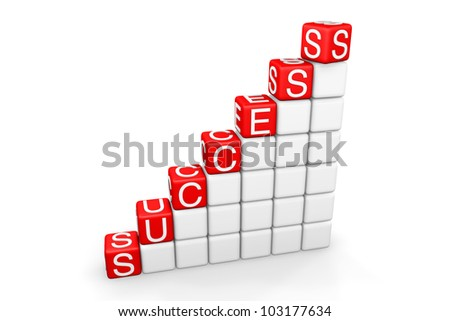 Success Ladder. Steps to success as blocks on a white background - stock photo