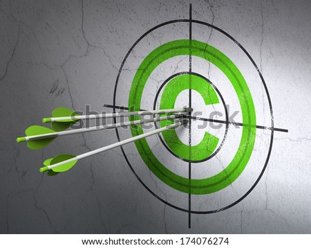 Success law concept: arrows hitting the center of Green Copyright target on wall background, 3d render