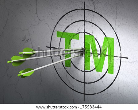 Success law concept: arrows hitting the center of Green Trademark target on wall background, 3d render - stock photo