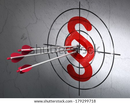 Success law concept: arrows hitting the center of Red Paragraph target on wall background, 3d render - stock photo