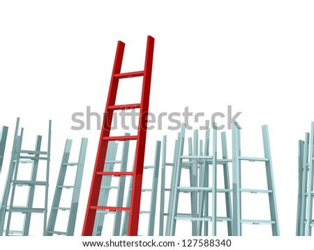 Success, leadership on business concept, red ladder standing out from the crowd, isolated on white background. - stock photo