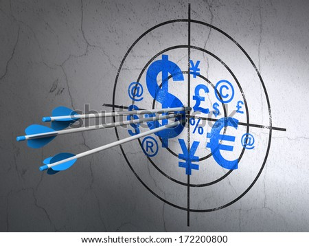 Success marketing concept: arrows hitting the center of Blue Finance Symbol target on wall background, 3d render