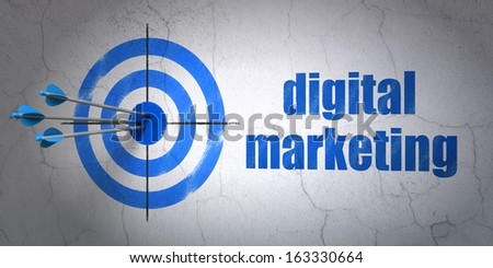 Success marketing concept: arrows hitting the center of target, Blue Digital Marketing on wall background, 3d render - stock photo