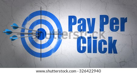 Success marketing concept: arrows hitting the center of target, Blue Pay Per Click on wall background - stock photo