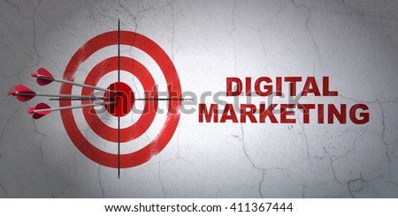 Success marketing concept: arrows hitting the center of target, Red Digital Marketing on wall background, 3D rendering - stock photo