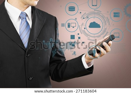 Success. Mobile phones technology business concept, Creative network information process diagram in the hands of businessman - stock photo