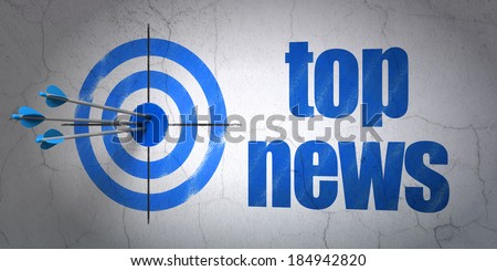 Success news concept: arrows hitting the center of target, Blue Top News on wall background, 3d render