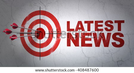 Success news concept: arrows hitting the center of target, Red Latest News on wall background, 3D rendering - stock photo