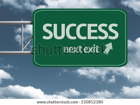 Success, next exit creative road sign and clouds - stock photo