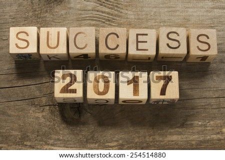 success 2017 on a wooden background - stock photo