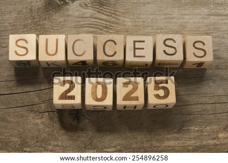 success 2025 on a wooden background - stock photo