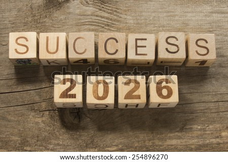 success 2026 on a wooden background - stock photo